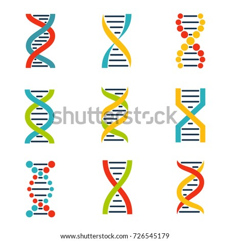Colorful DNA icons set.