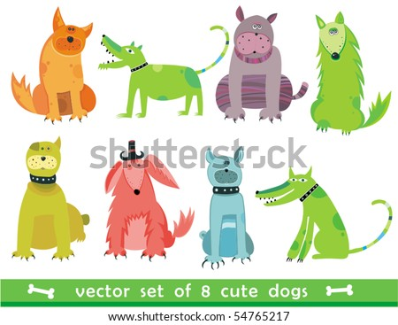 Colorful dogs set - stock vector