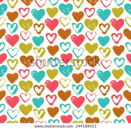 Colorful doodle heart seamless background. Romantic endless pattern. Template texture for design and decoration covers, greeting cards, wrapping paper