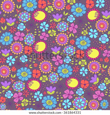 Colorful doodle seamless pattern with flowers