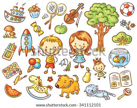 Colorful doodle set of objects from a child's life including pets, toys, food, plants and things for sport and creative activities - stock vector