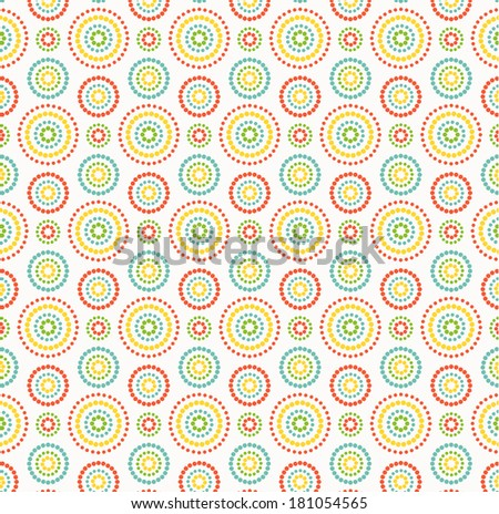 Colorful dots circles pattern on white background - stock vector