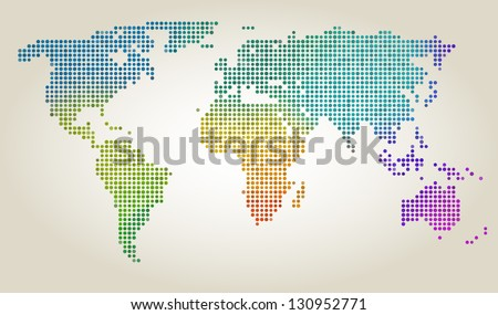 Colorful dotted world map, vector illustration - stock vector