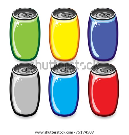 Colorful drink cans. Illustration on white background - stock vector