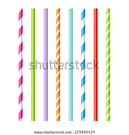 Colorful drinking straws - stock vector