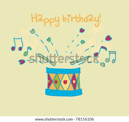 Colorful drum happy birthday card.