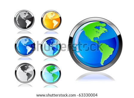 colorful earth icon set isolated on white background - stock vector