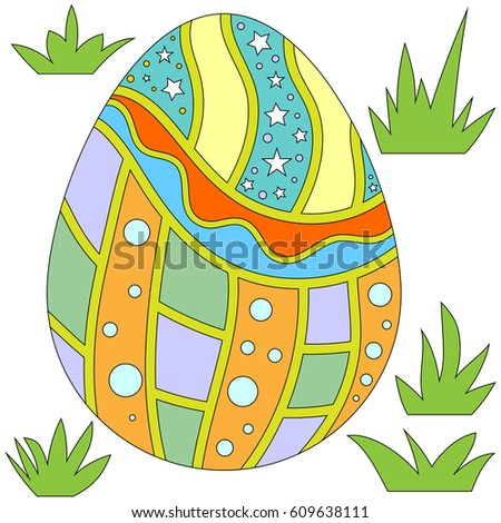 Colorful Easter Egg and Grass Collection isolated over white background