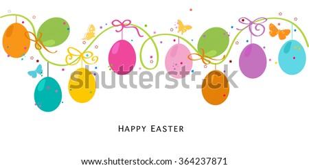 Colorful Easter Eggs Border Design Vector