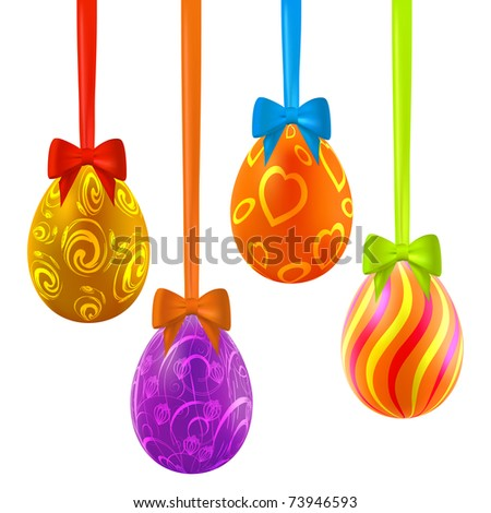 Colorful easter eggs hanging on ribbons with bows. Vector eps10 illustration - stock vector