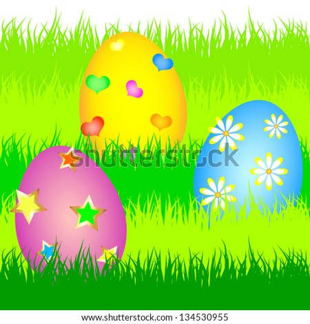 colorful easter eggs in the green grass of the vector