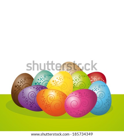 Colorful Easter eggs on white background. Vector banner. - stock vector