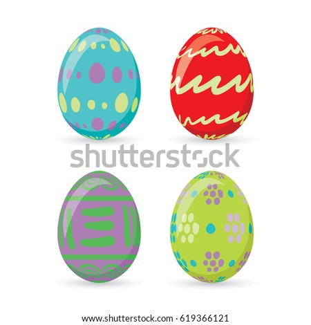 Colorful easter eggs set collection, vector illustration. Easter eggs for Easter holidays design isolated on white background.