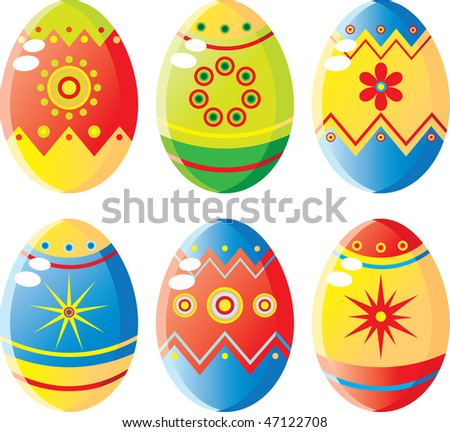 Colorful easter eggs set. Vector illustration (EPS8). All parts (object) closed, possibility to edit.  Without a transparency. Isolated on a white background. - stock vector
