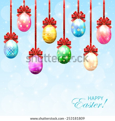 Colorful Easter eggs with bow on sunny background, illustration. - stock vector