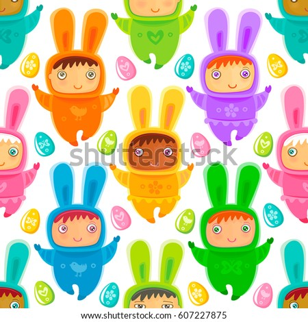 Colorful easter greeting card child bunny stock vector 604621112 colorful easter seamless texture with cute children at bunnies costumes colorful eggs can be negle Choice Image