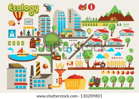 colorful ecology info graphic background - stock vector