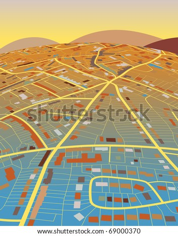 Colorful editable vector illustration of a generic street map and landscape - stock vector