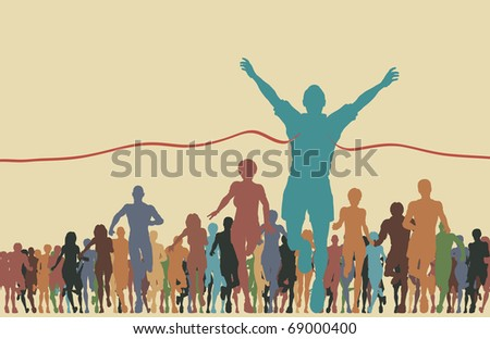 Colorful editable vector illustration of a man winning a race - stock vector
