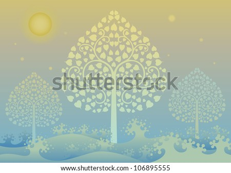 Colorful editable vector illustration of Gold tree and thai pattern style - stock vector