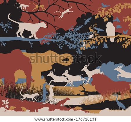 Colorful editable vector illustration of wildlife diversity - stock vector