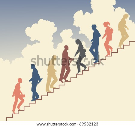 Colorful editable vector silhouette of people on stairs against the sky - stock vector
