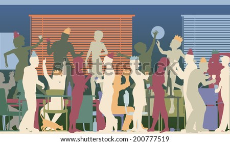 Colorful editable vector silhouettes of business people at an office party with all elements as separate objects - stock vector