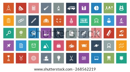 Colorful educational icon set - stock vector
