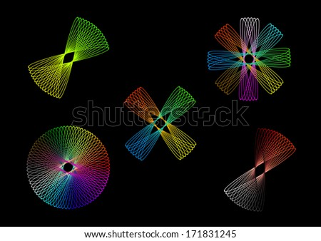 Colorful ellipses, circles, atoms, forms in various colors isolated vector art image eps10 - stock vector