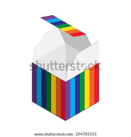 Colorful empty opened cardboard box. rainbow - stock vector