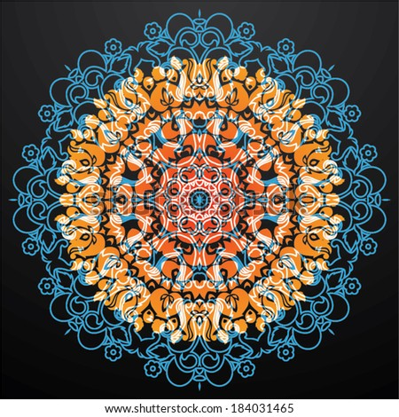 Colorful ethnic floral based mandala ornament decoration - stock vector