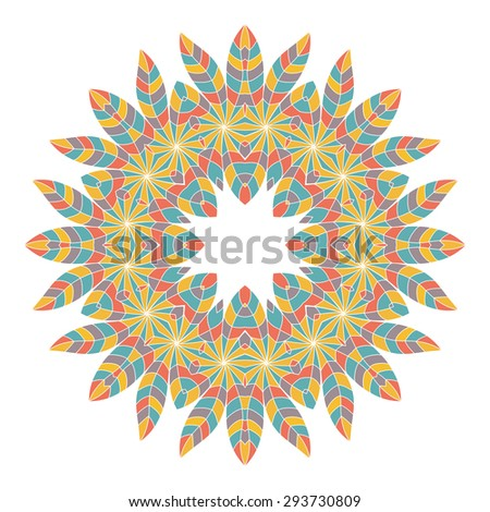 Colorful ethnicity round ornament. Circular ornament in ethnic American Indian style. Invitation card, save the date card. Vintage decorative elements.  American Indian, African motifs.  - stock vector