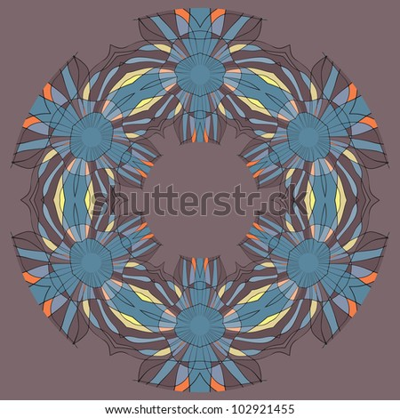 Colorful ethnicity round ornament, mosaic vector illustration in blue and brown colors - stock vector