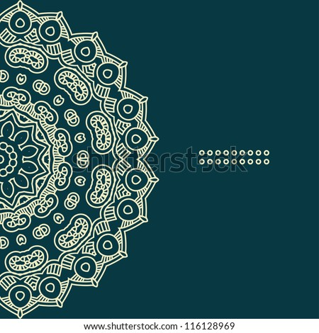 Colorful ethnicity round ornament, vector illustration with ornate pattern for print - stock vector