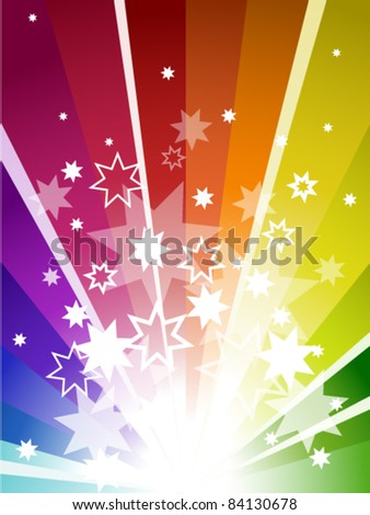 Colorful explosion background in colors of rainbow - stock vector