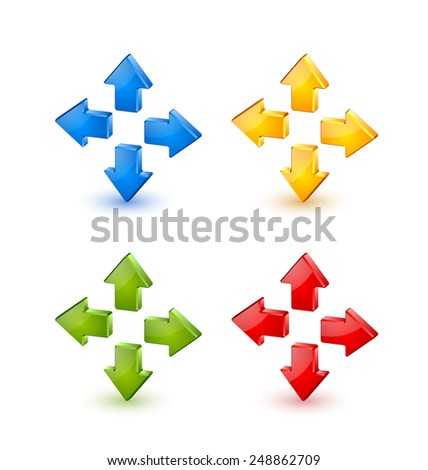 Colorful extruded three dimensional arrow icons on white background - stock vector