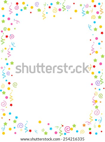 Colorful falling confetti party frame with empty space in center - stock vector