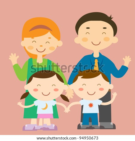 Colorful family vector - stock vector