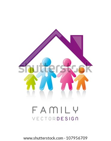 colorful family with house, conceptual. vector illustration - stock vector