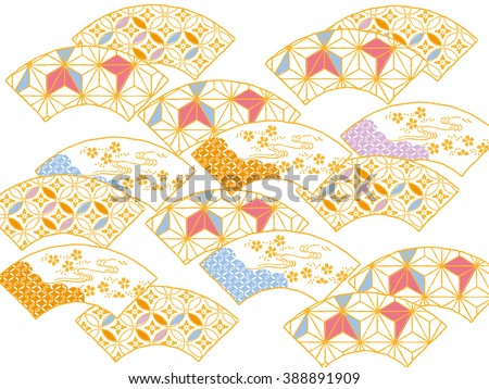 Colorful fan: An original design using traditional Japanese patterns  - stock vector