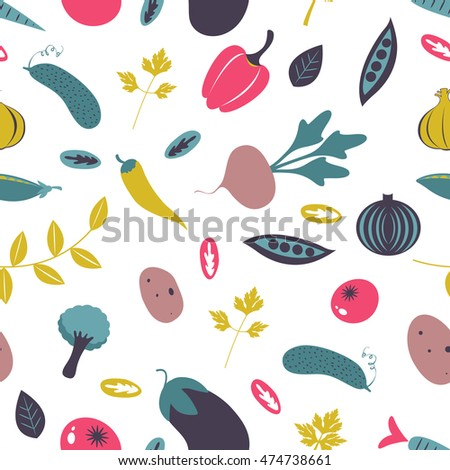 Colorful farm vegetables seamless pattern