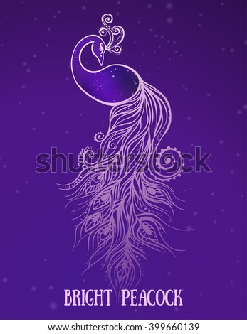 Colorful fashion card with peacock Color bird for the design of textiles, clothing, T-shirts, wallpaper, print, wall stickers. Decoration pattern. Seamless hand drawn map with peacock paisley oriental - stock vector