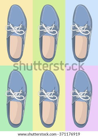 Colorful fashion modern flat shoe icons. - stock vector