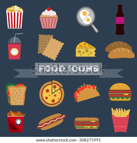 Colorful Fast Food and Snacks Icons Set. French Fries, Hamburger, Soda Drinks, Hot Dog and Crackers. Daily Lunch Break Goodies. Digital vector flat illustration. - stock vector