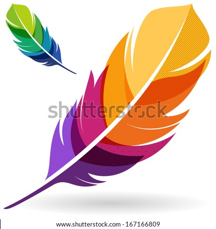 Colorful Feather - stock vector