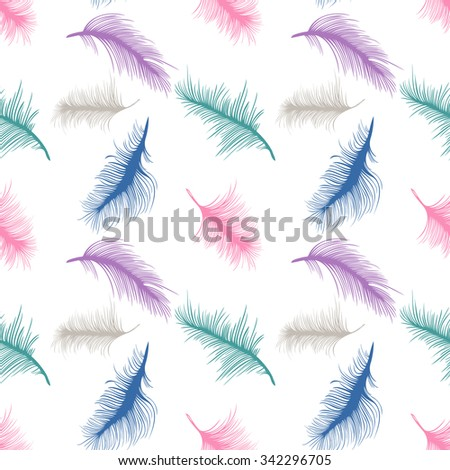 Colorful feathers on white background; seamless pattern; vector