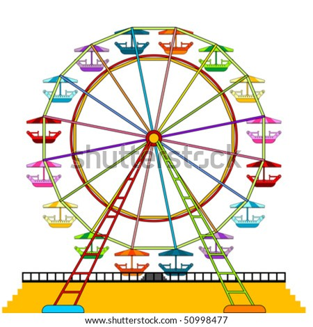 Colorful ferris wheel isolated over white background - stock vector
