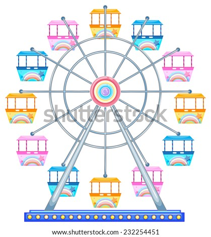 Colorful ferris wheel on white - stock vector