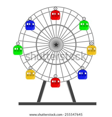 Colorful ferris wheel vector isolated on white, amusement park, carousel, sky,up - stock vector