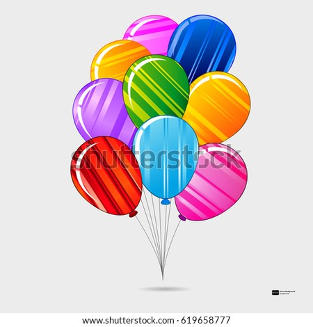 colorful festive striped balloons with ropes birthday party vector background